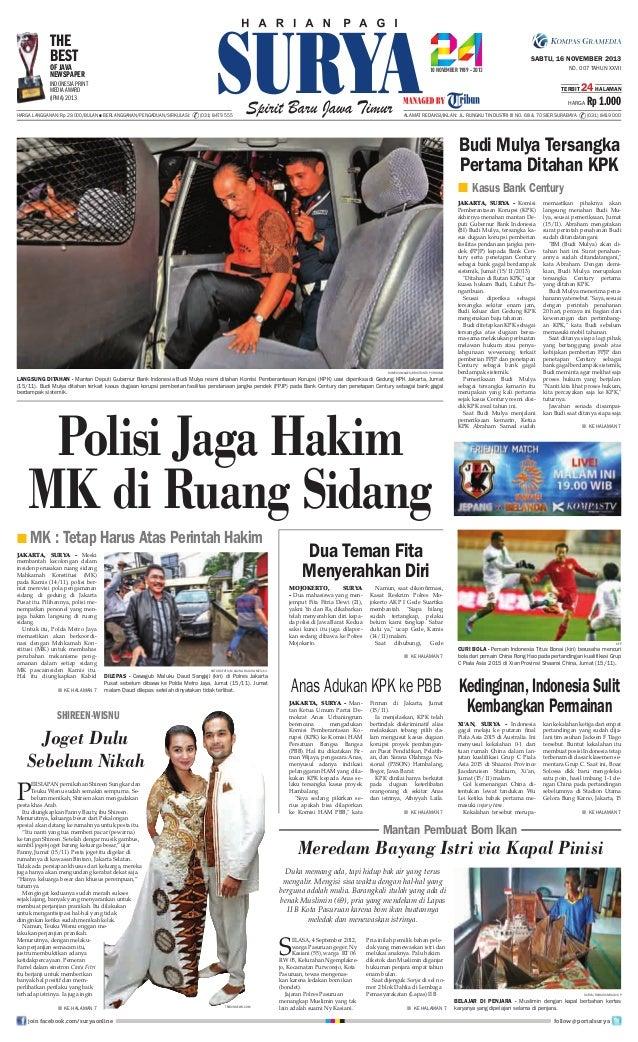 THE BEST  SABTU, 16 NOVEMBER 2013  OF JAVA NEWSPAPER  NO. 007 TAHUN XXVII  INDONESIA PRINT MEDIA AWARD (IPMA) 2013  TERBIT...