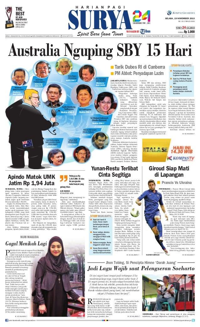 THE BEST  OF JAVA NEWSPAPER  SELASA, 19 NOVEMBER 2013 NO. 010 TAHUN XXVII  INDONESIA PRINT MEDIA AWARD (IPMA) 2013  TERBIT...