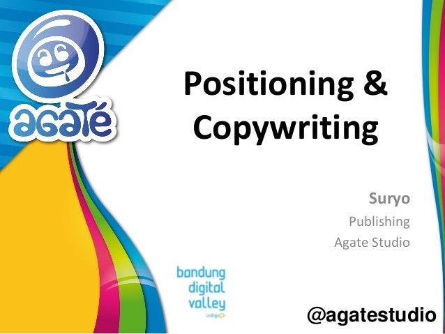 @agatestudio Positioning & Copywriting Suryo Publishing Agate Studio