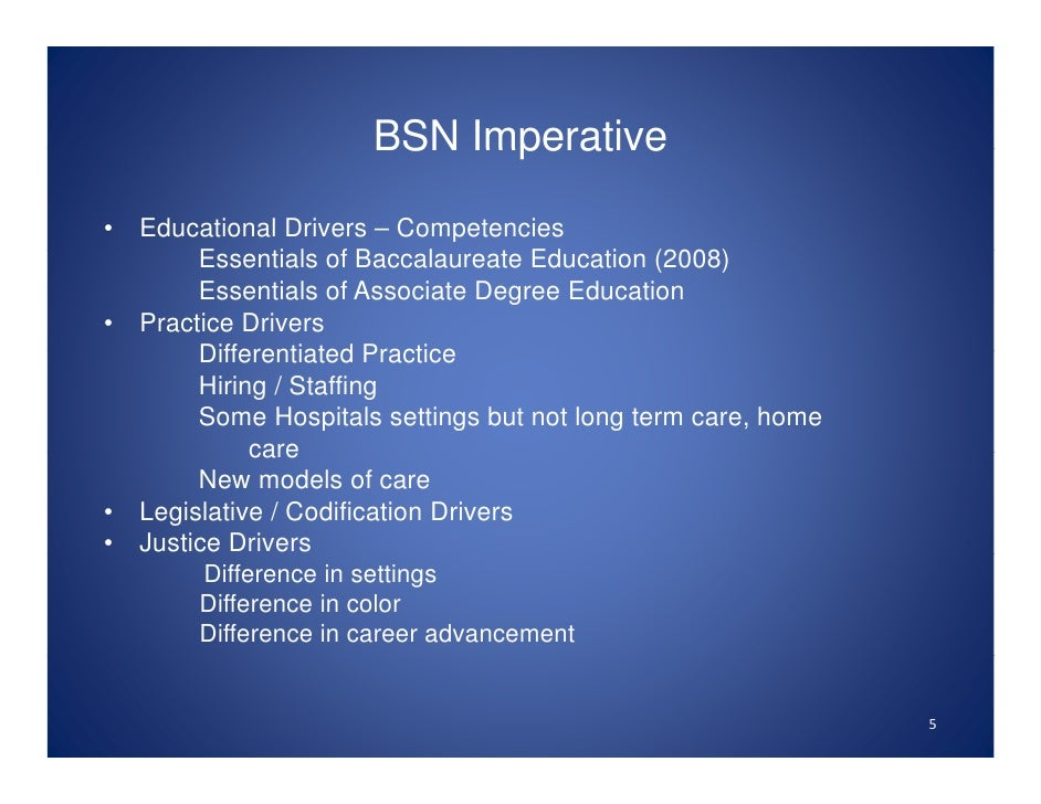 competency differences in adn nurses and Competencies between nurses at aa level and bsn level associate degree in nursing this degree is based on three years to complete associate degree in nursing in adn students send two years for taking the class of liberal arts and science and after that spend one year for taking specialized nursing related courses.