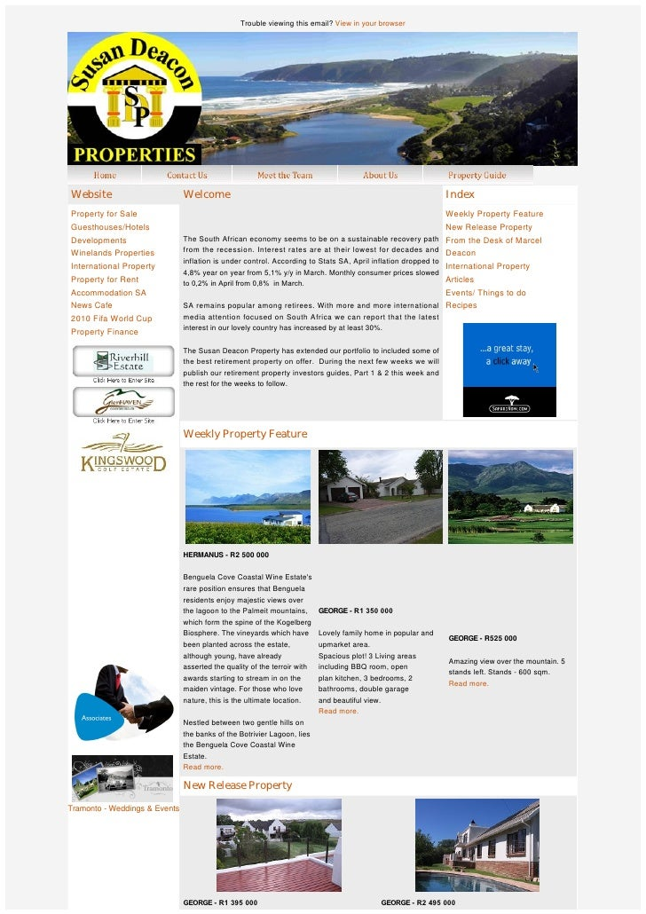 Susan Deacon Property Group Newsletter - 31 May 2010