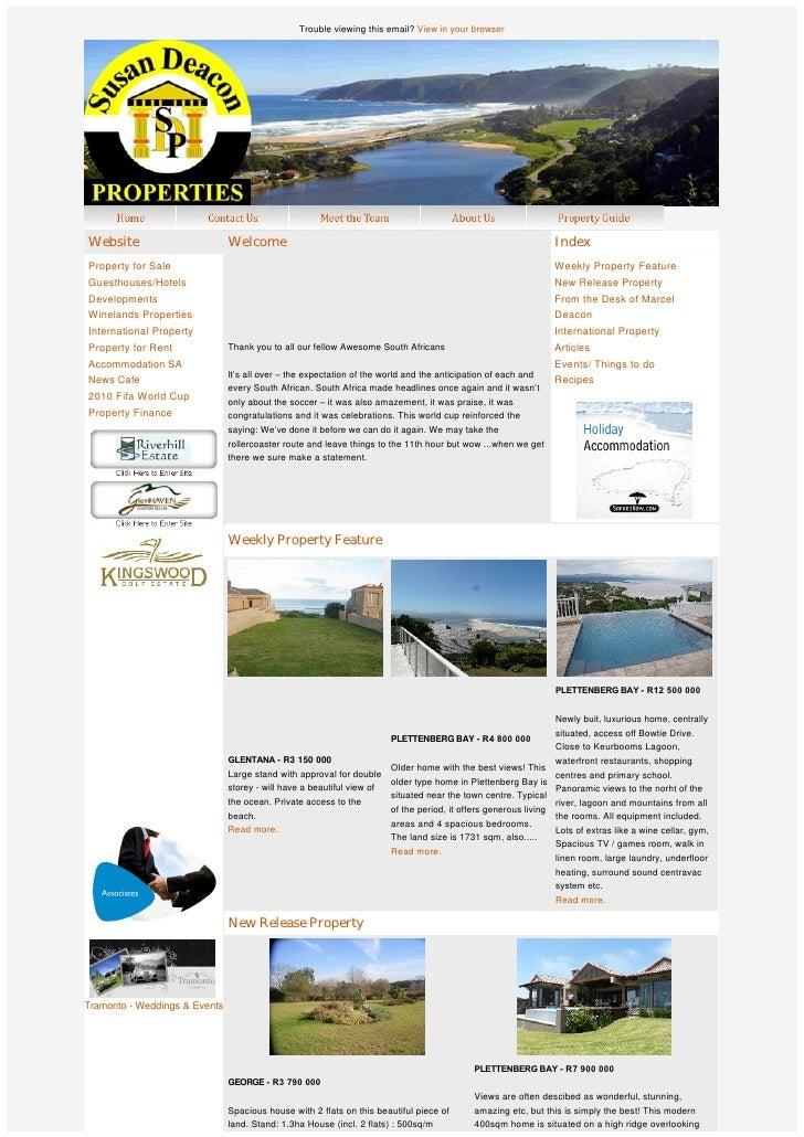 Susan Deacon Property Group Newsletter