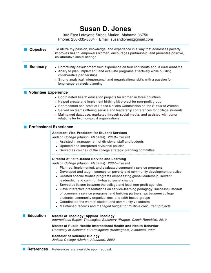 High Quality One Page Resume Examples