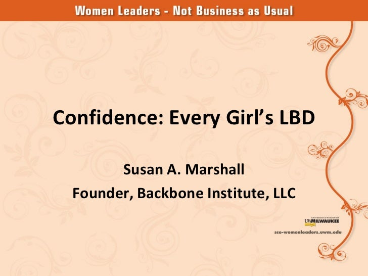 Susan marshall   confidence every womans lbd