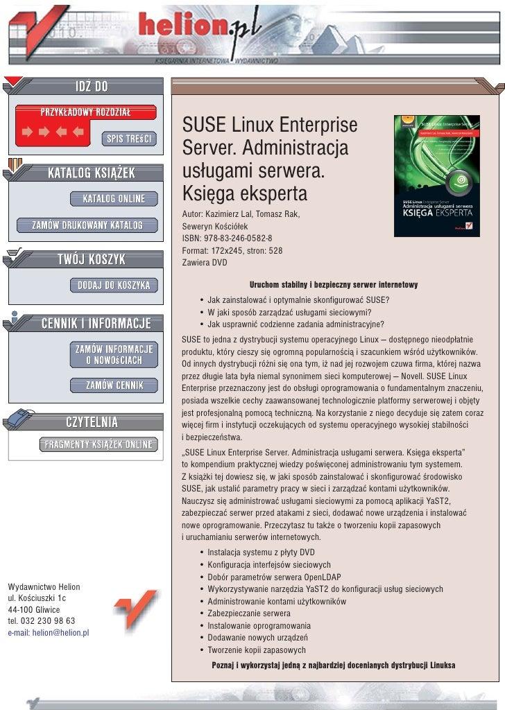 SUSE Linux Enterprise Server. Administracja usługami serwera. Księga eksperta