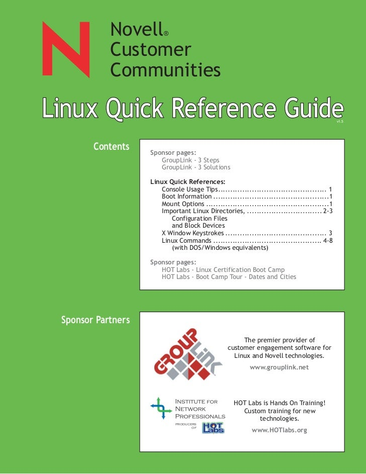 SUSE Linux quick reference