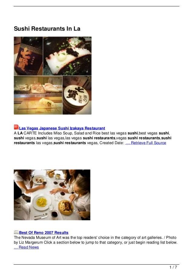 Sushi Restaurants In La
