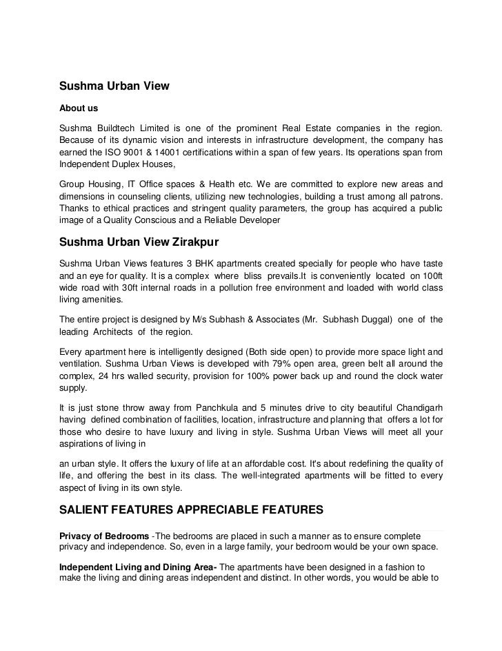 Sushma Urban View <br />About us<br />Sushma Buildtech Limited is one of the prominent Real Estate companies in the region...