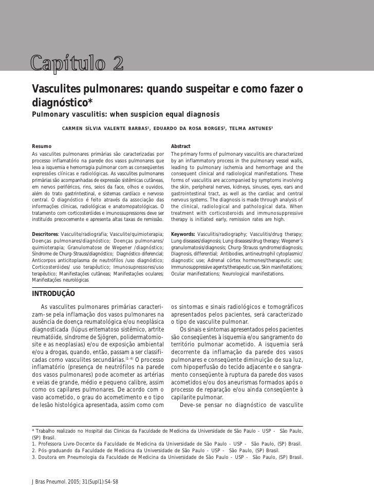 Suspeição e diagnostico das vasculites pulmonares