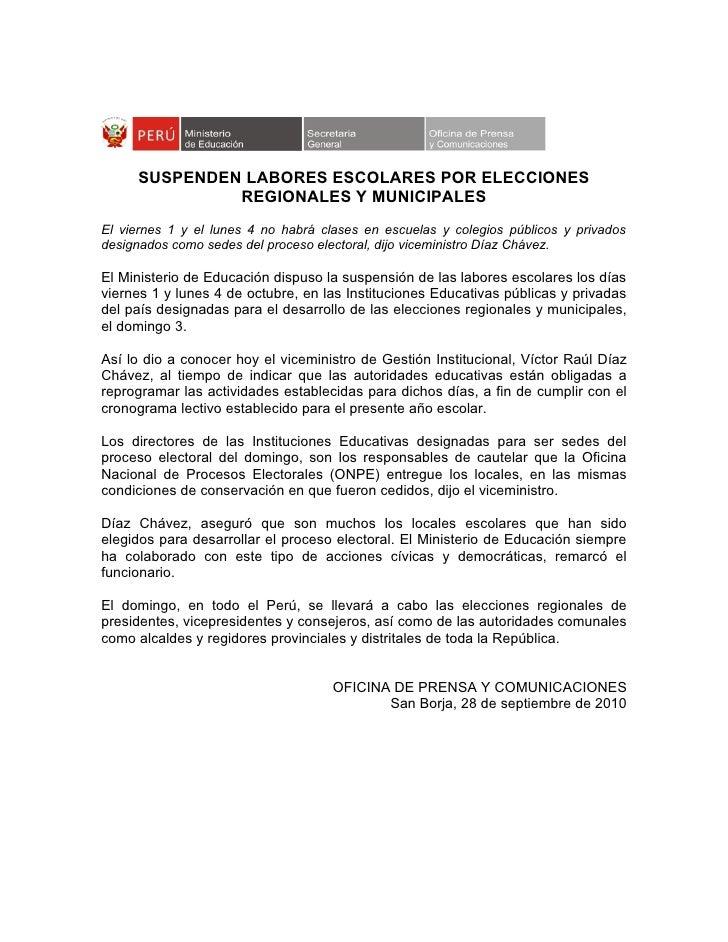 SUSPENDEN LABORES ESCOLARES POR ELECCIONES               REGIONALES Y MUNICIPALES El viernes 1 y el lunes 4 no habrá clase...