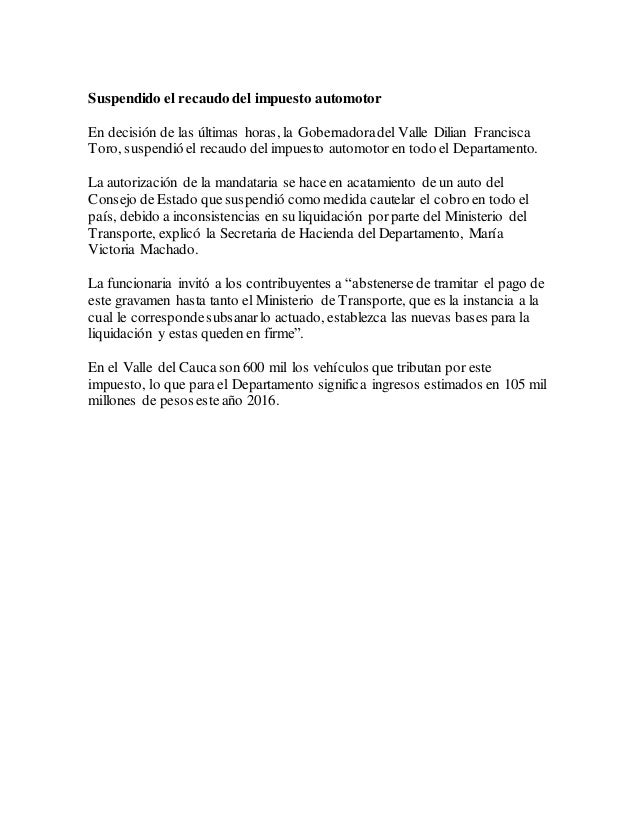 Gobernacion Del Valle Del Cauca Impuesto De Vehiculos 2013