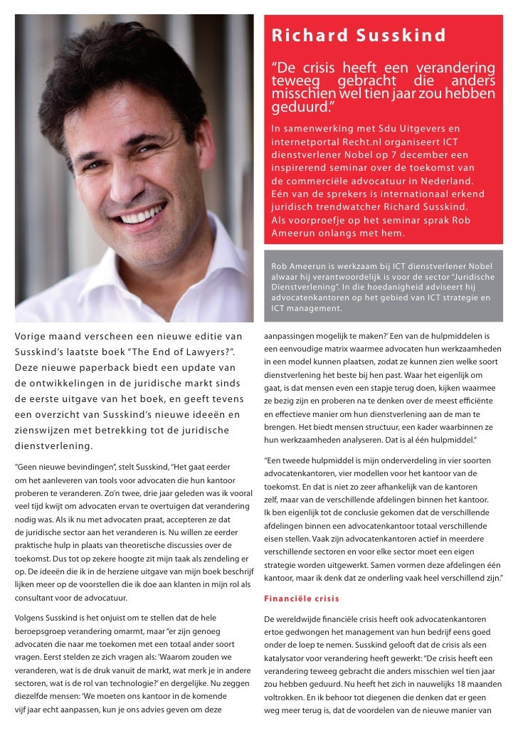 Interview with Richard Susskind (in Dutch)