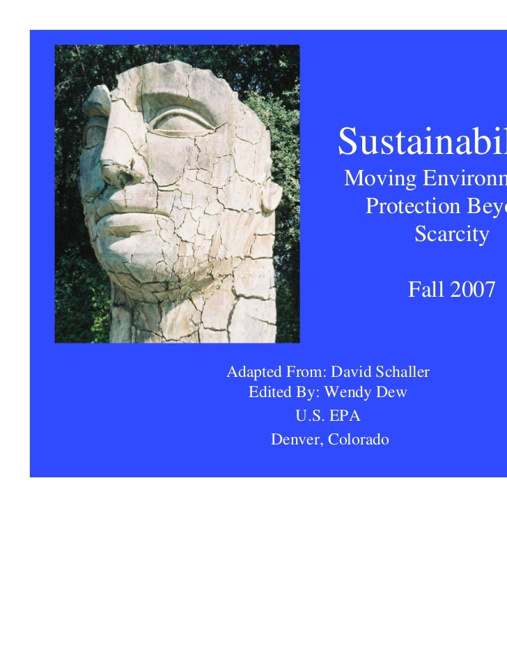 Sustainability:                Moving Environmental                 Protection Beyond                      Scarcity       ...