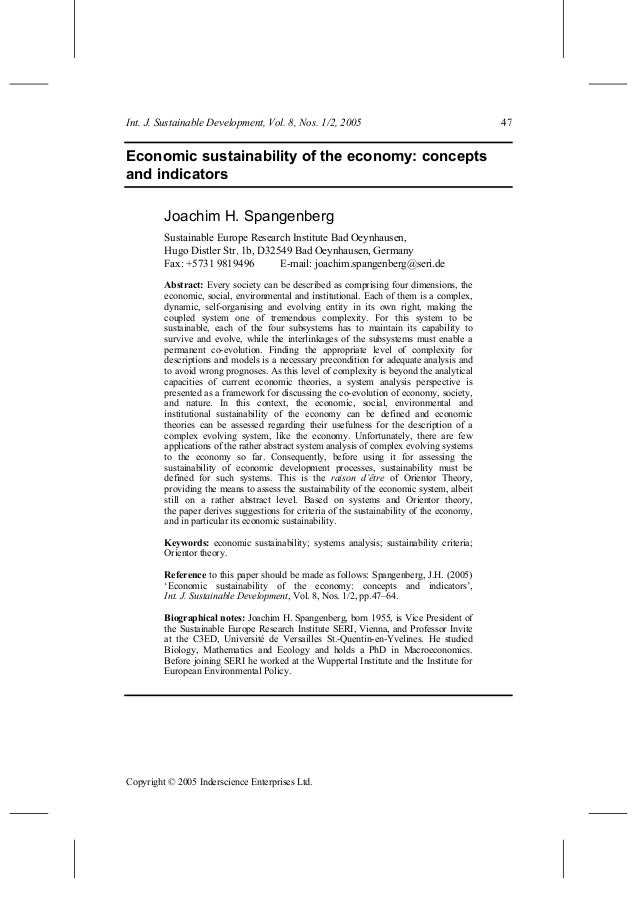 Int. J. Sustainable Development, Vol. 8, Nos. 1/2, 2005 47 Copyright © 2005 Inderscience Enterprises Ltd. Economic sustain...