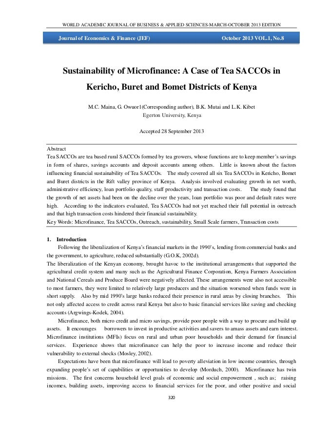 Sustainability of Microfinance: A Case of Tea SACCOs in Kericho, Buret and Bomet Districts of Kenya