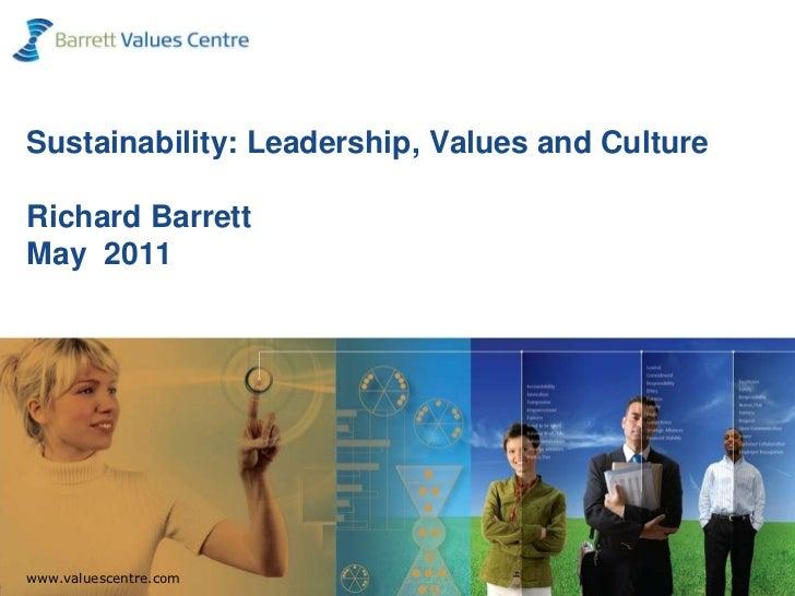 Sustainability: Leadership, Values and Culture Richard BarrettMay  2011<br />