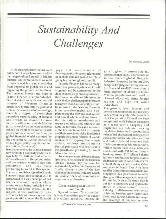 Sustainability and challenges 2007