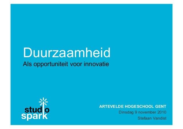 Artevelde Hogeschool - Sustainable innovation and Green marketing