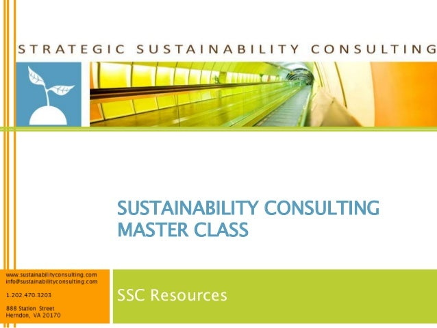 SUSTAINABILITY CONSULTINGMASTER CLASSSSC Resources