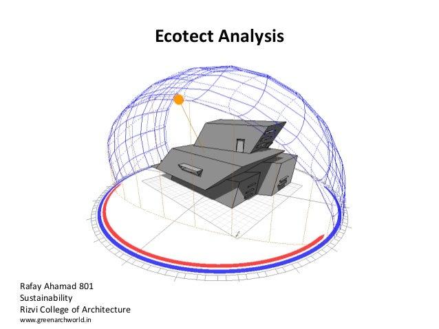 Ecotect Analysis Rafay Ahamad 801 Sustainability Rizvi College of Architecture www.greenarchworld.in