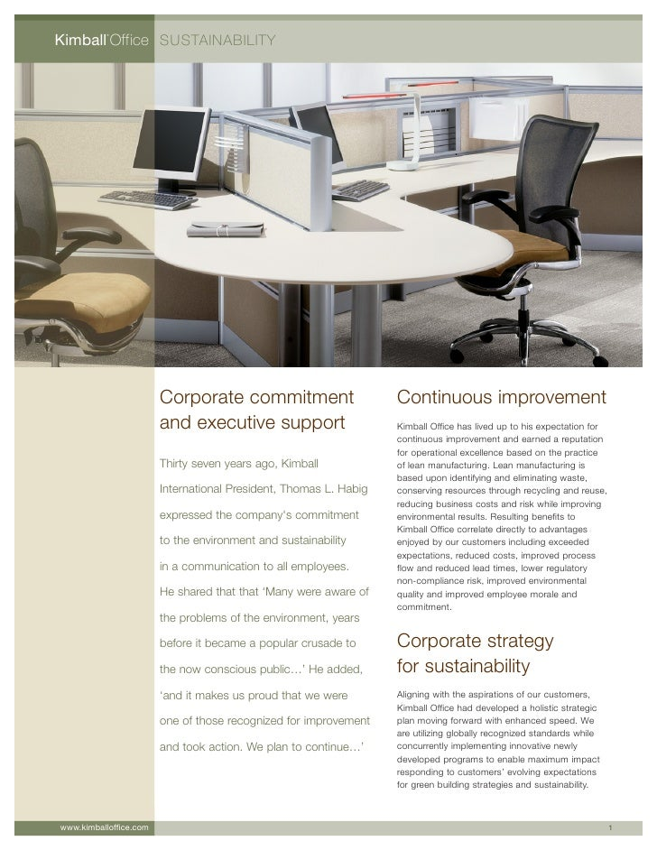 Kimball Office SUSTAINABILITY           ®                             Corporate commitment                       Continuou...