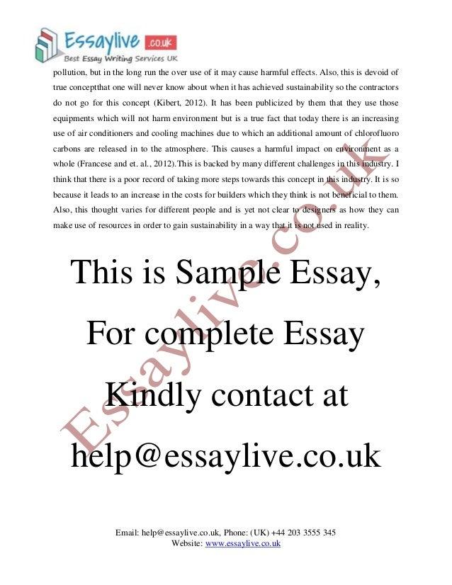 Sustainability essay
