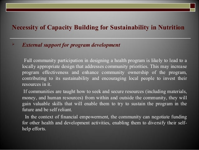 Sustainability in nutrition by capacity building