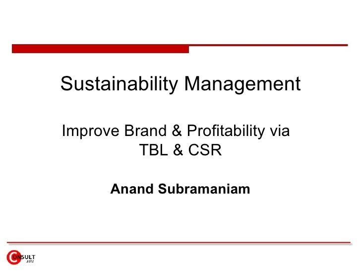 Sustainability Management Improve Brand & Profitability via  TBL & CSR Anand Subramaniam