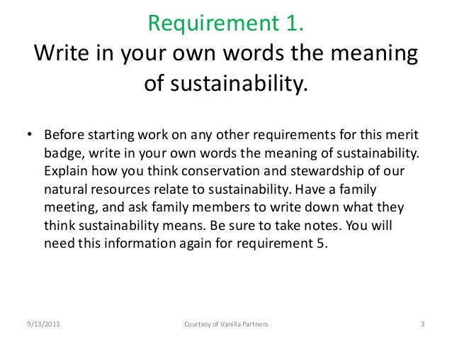 Environmental sustainability essay