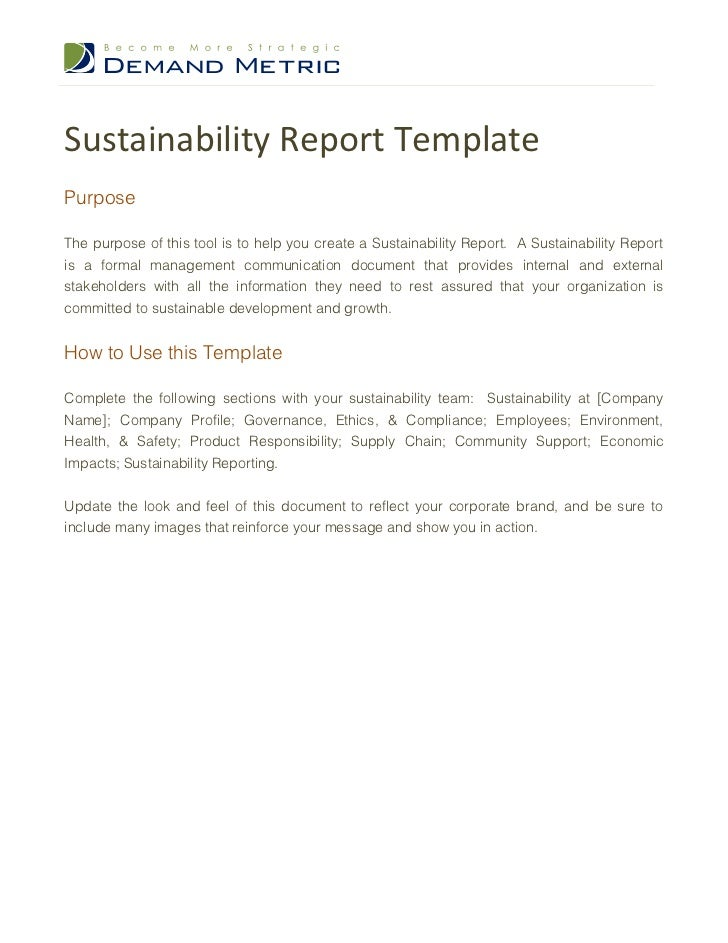 Sustainability Report TemplatePurposeThe purpose of this tool is to help you create a Sustainability Report. A Sustainabil...