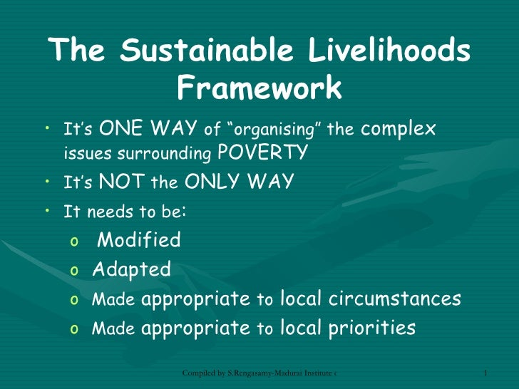 the concept of sustainable livelihoods The sustainable livelihoods approach from a psychological perspective  412 recommendations for improvement of the participation concept in sl.