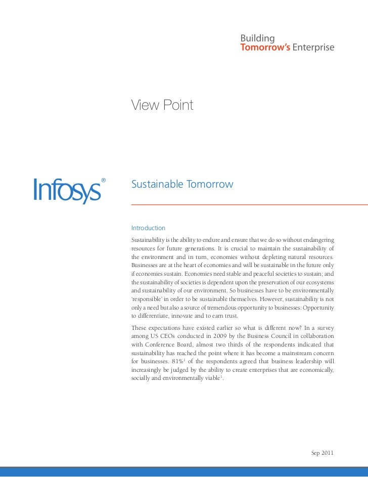 View PointSustainable TomorrowIntroductionSustainability is the ability to endure and ensure that we do so without endange...