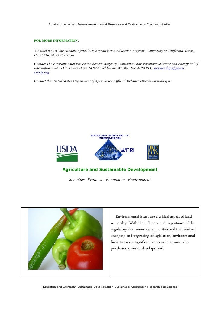 Sustainable Agriculture And Environmental Protection  Usda Weri Nri Un