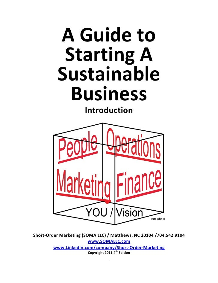 A Guide to           Starting A          Sustainable            Business                      IntroductionShort-Order Mark...