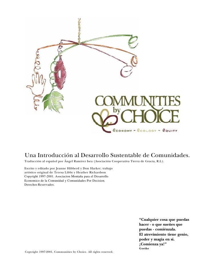 Una Introducción al Desarrollo Sustentable de Comunidades. Traducción al español por Ángel Ramírez Isea (Asociación Cooper...
