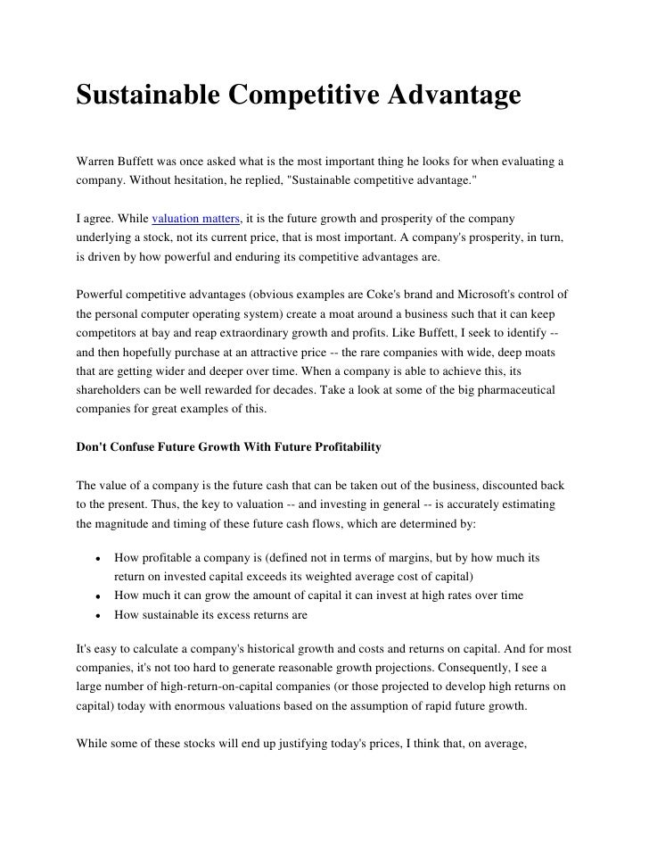 Sustainable competitive advantage  warren buffett