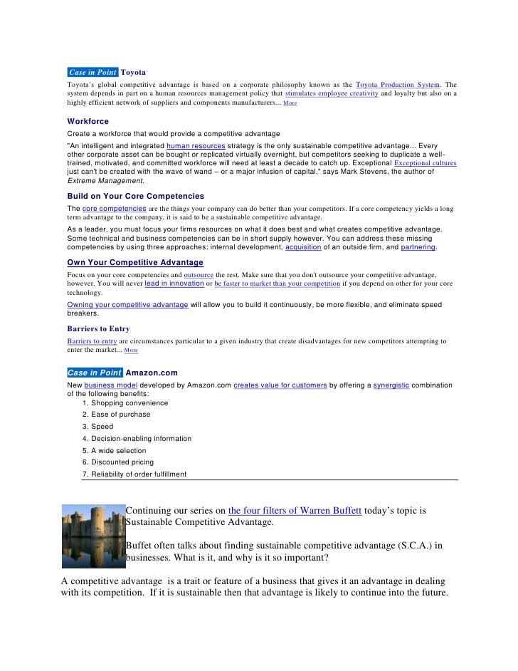 Sustainable competitive advantage cs & notes toyota cs