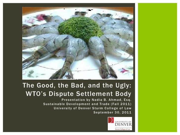 The Good, the Bad, and the Ugly:<br />WTO's Dispute Settlement Body<br />Presentation by Nadia B. Ahmad, Esq.<br />Sustain...