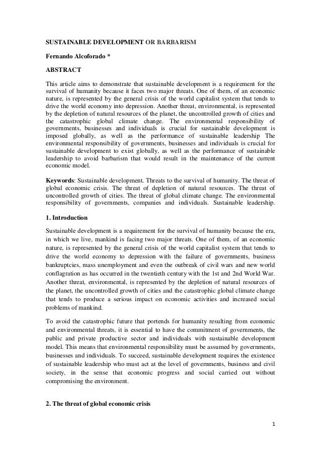 SUSTAINABLE DEVELOPMENT OR BARBARISMFernando Alcoforado *ABSTRACTThis article aims to demonstrate that sustainable develop...