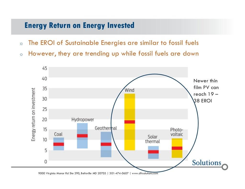 Энергии энергетической отдачи от вложенных  о-ЕРОИ устойчивого энергии похожи на ископаемые виды топлива  o вместе с тем, они являются трен...