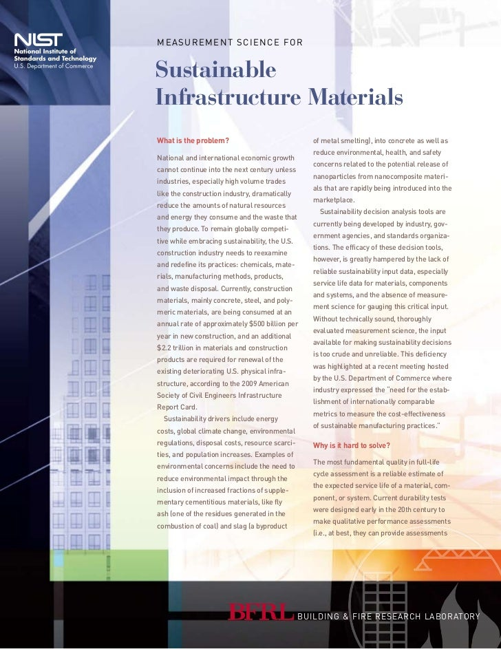M e a s u r e M e n t s c i e n c e fo rSustainableInfrastructure MaterialsWhat is the problem?                           ...