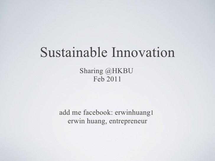 Sustainable innovation hk bu