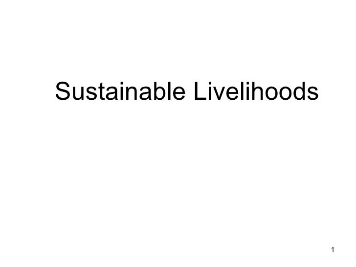 Sustainable Livelihoods
