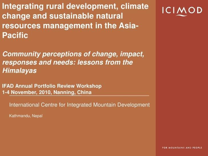 APR Workshop 2010-Sustainable Natural Resources Management-Dhrupad Chowdhury
