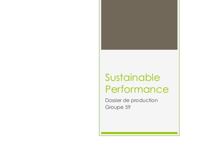 Sustainable Performance Dossier de production Groupe 59