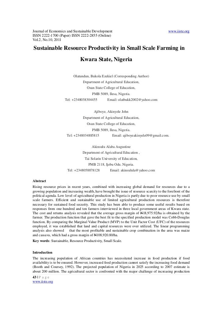 Sustainable resource productivity in small scale farming in kwara state, nigeria