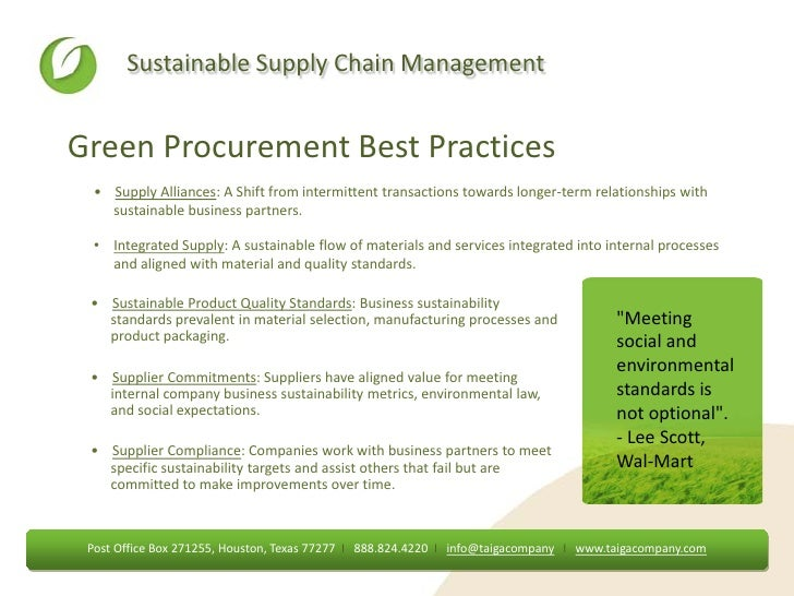 wal mart a green sustainable supply chain Introduction a green sustainable supply chain can be defined as the  process of using environmentally friendly inputs and transforming these inputs.