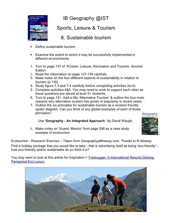 IB Geography @IST                                Sports, Leisure & Tourism                                   8. Sustainabl...