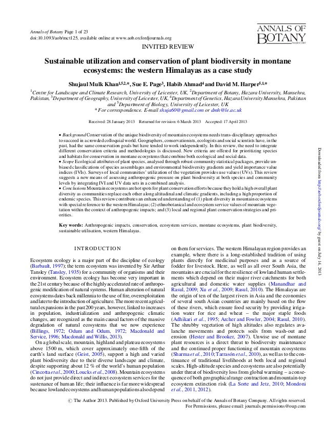 INVITED REVIEW Sustainable utilization and conservation of plant biodiversity in montane ecosystems: the western Himalayas...