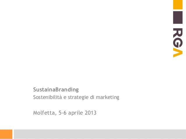 SustainaBrandingSostenibilità e strategie di marketingMolfetta, 5-6 aprile 2013